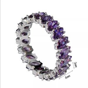 Jewelry - Amethyst Sterling Silver Anniversary Band